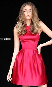 High-Neck Halter Sherri Hill Satin Homecoming Dress