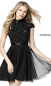 Sherri Hill Short High-Neck Dress with Beaded Bodice