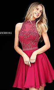 Image of Sherri Hill short homecoming dress with beaded bodice. Style: SH-51276 Detail Image 2
