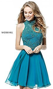 Image of Sherri Hill short homecoming dress with beaded bodice. Style: SH-51276 Detail Image 1
