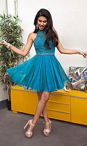Sherri Hill Short Homecoming Dress with Beaded Bodice