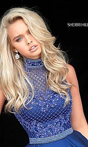 Image of Sherri Hill short homecoming dress with beaded bodice. Style: SH-51276 Detail Image 3