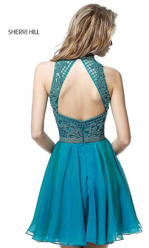 Image of Sherri Hill short homecoming dress with beaded bodice. Style: SH-51276 Back Image