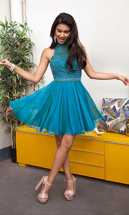Image of Sherri Hill short homecoming dress with beaded bodice. Style: SH-51276 Front Image
