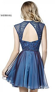 Image of short beaded-bodice Sherri Hill homecoming dress. Style: SH-51293 Back Image