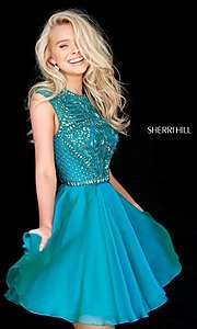 Short Beaded-Bodice Sherri Hill Homecoming Dress