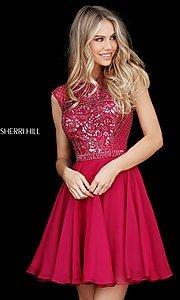 Image of short beaded-bodice Sherri Hill homecoming dress. Style: SH-51293 Detail Image 3