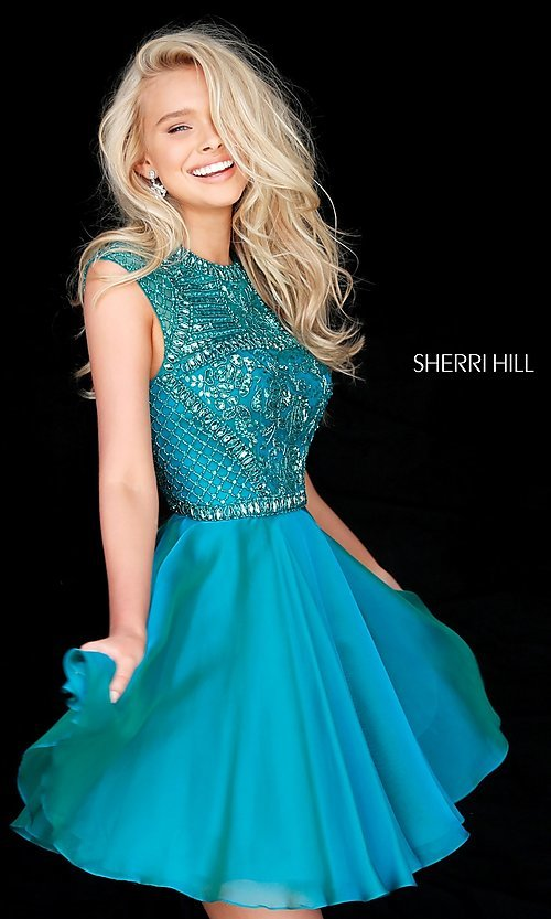 Image of short beaded-bodice Sherri Hill homecoming dress. Style: SH-51293 Front Image
