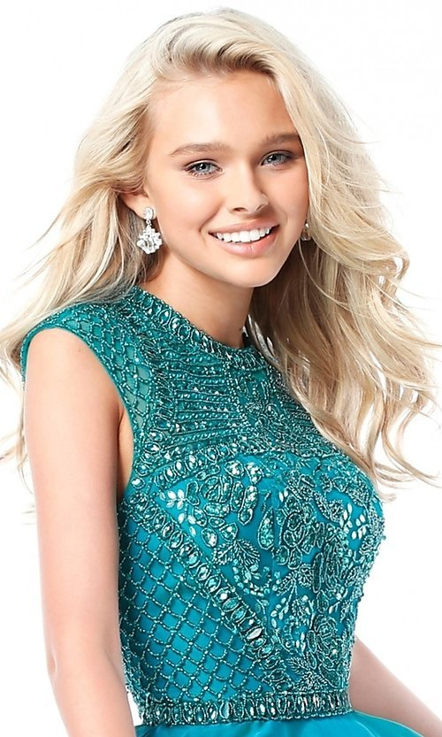 Image of short beaded-bodice Sherri Hill homecoming dress. Style: SH-51293 Detail Image 1