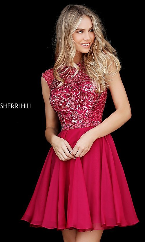 Sherri Hill Beaded-Bodice Homecoming Dress - PromGirl