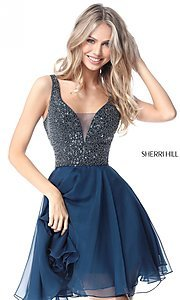 Sherri Hill V-Neck Short Party Dress with Beading