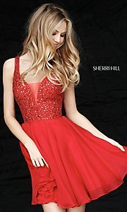 Image of Sherri Hill v-neck short party dress with beading. Style: SH-51294 Front Image