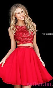 Image of two-piece Sherri Hill homecoming dress with beads. Style: SH-51295 Detail Image 3