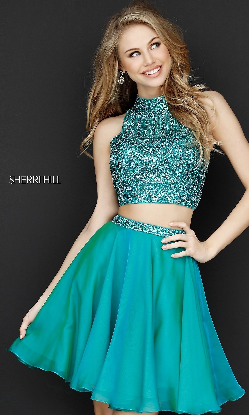 Sherri Hill Two-Piece Beaded Homecoming Dress-PromGirl