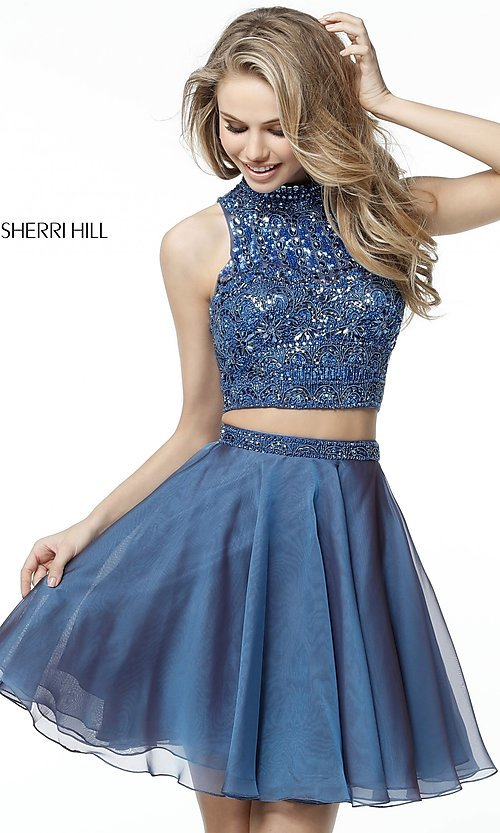 Image of two-piece short Sherri Hill beaded homecoming dress. Style: SH-51296 Detail Image 3