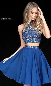 Image of short two-piece Sherri Hill dress with beaded top. Style: SH-51297 Detail Image 2