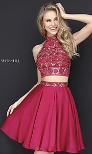 Image of short two-piece Sherri Hill dress with beaded top. Style: SH-51297 Front Image