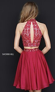 Image of short two-piece Sherri Hill dress with beaded top. Style: SH-51297 Back Image
