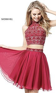 Image of short two-piece Sherri Hill dress with beaded top. Style: SH-51297 Detail Image 1