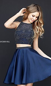 Image of short two-piece homecoming party dress by Sherri Hill. Style: SH-51299 Detail Image 1