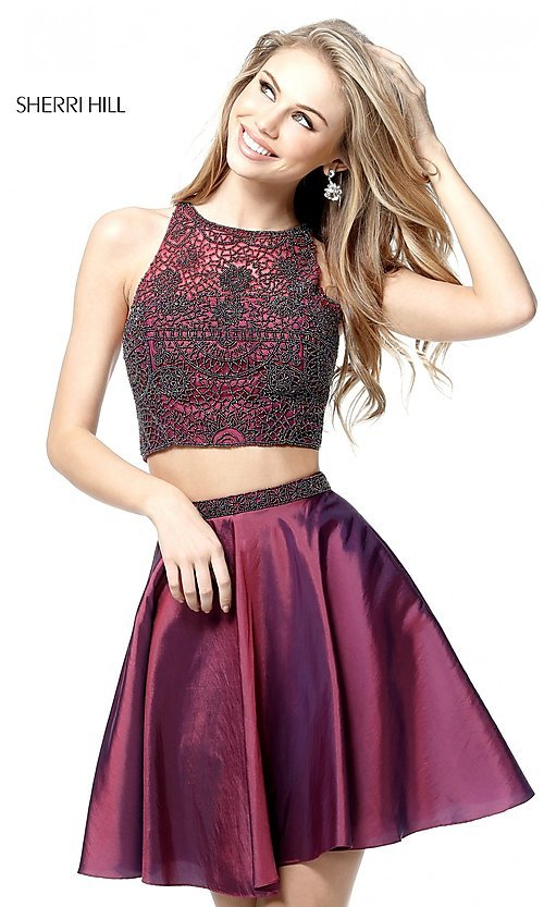 Image of short two-piece homecoming party dress by Sherri Hill. Style: SH-51299 Front Image