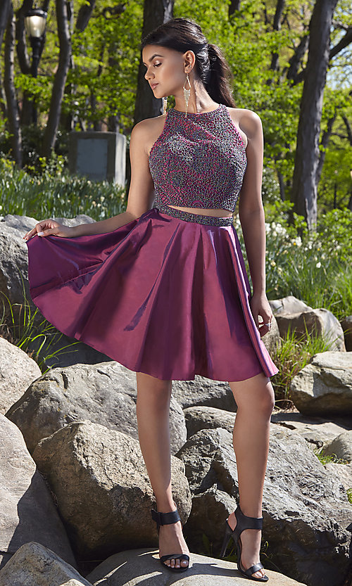 Image of short two-piece homecoming party dress. Style: SH-51299 Front Image