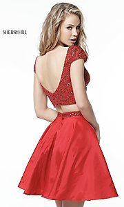 Image of two-piece short red homecoming dress by Sherri Hill. Style: SH-51300 Back Image