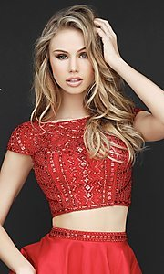 Image of two-piece short red homecoming dress by Sherri Hill. Style: SH-51300 Detail Image 1