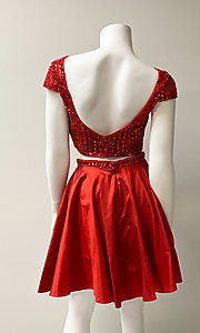 Image of two-piece short-sleeve short red prom dress. Style: SH-51300 Back Image