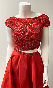 Image of two-piece short-sleeve short red prom dress. Style: SH-51300 Detail Image 1