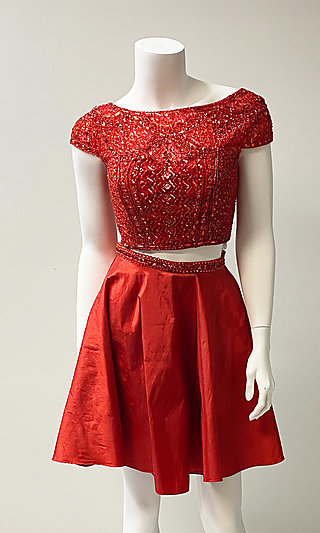 Two-Piece Short-Sleeve Short Red Prom Dress