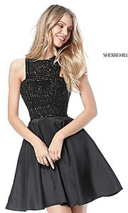 Image of Sherri Hill fit-and-flare high-neck homecoming dress. Style: SH-51302 Detail Image 2
