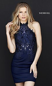 High-Neck Embroidered Sherri Hill Dress