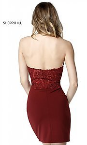 Image of Sherri Hill halter homecoming dress with lace bodice. Style: SH-51313 Back Image