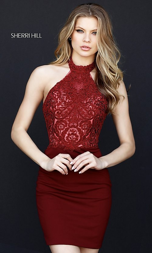 Image of Sherri Hill halter homecoming dress with lace bodice. Style: SH-51313 Detail Image 2