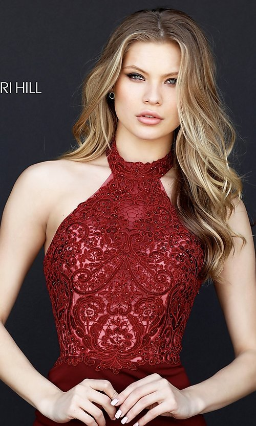 Image of Sherri Hill halter homecoming dress with lace bodice. Style: SH-51313 Detail Image 3