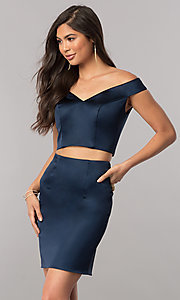 Image of two-piece Sherri Hill off-shoulder homecoming dress. Style: SH-51320 Detail Image 3