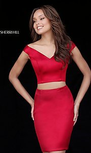 Image of two-piece Sherri Hill off-shoulder homecoming dress. Style: SH-51320 Front Image