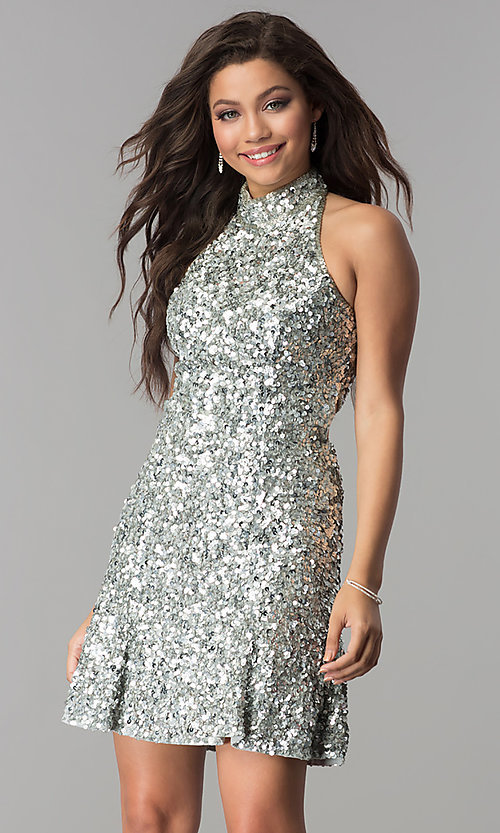 Image of short sequin Sherri Hill homecoming dress. Style: SH-51346 Detail Image 3