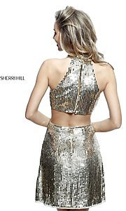 Image of sequin Sherri Hill homecoming dress with cut outs. Style: SH-51354 Back Image