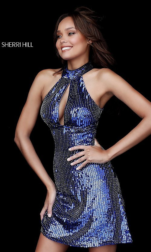 Image of sequin Sherri Hill homecoming dress with cut outs. Style: SH-51354 Detail Image 3