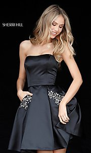 Image of short Sherri Hill homecoming dress with pockets. Style: SH-51390 Detail Image 1