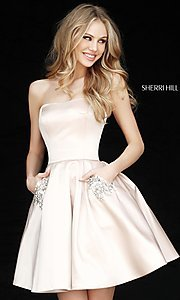 Image of short Sherri Hill homecoming dress with pockets. Style: SH-51390 Detail Image 2