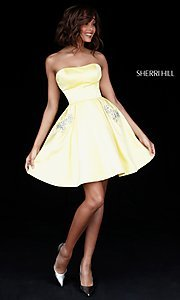 Image of short Sherri Hill homecoming dress with pockets. Style: SH-51390 Detail Image 3