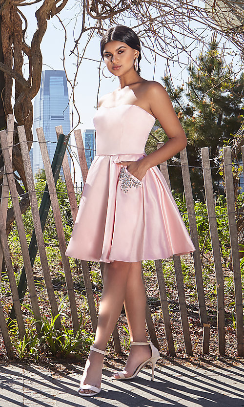 Image of short Sherri Hill homecoming dress with pockets. Style: SH-51390 Front Image