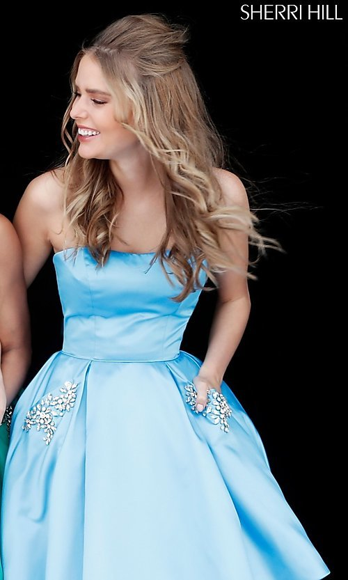 Image of short Sherri Hill homecoming dress with pockets. Style: SH-51390 Detail Image 4