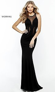 Long Sherri Hill Open Back Illusion Cut Out Prom Dress