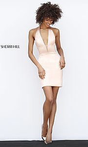 Image of Sherri Hill short halter homecoming party dress. Style: SH-51420 Detail Image 1