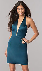 Image of Sherri Hill short halter homecoming party dress. Style: SH-51420 Detail Image 3