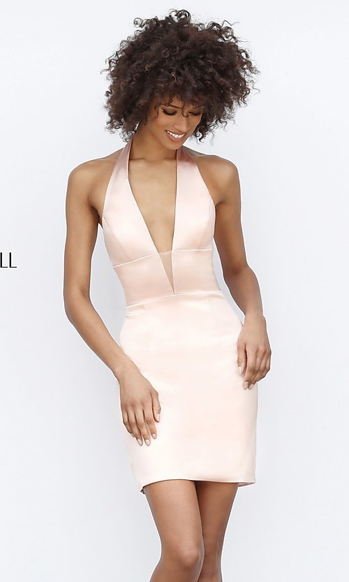 Image of Sherri Hill short halter homecoming party dress. Style: SH-51420 Front Image